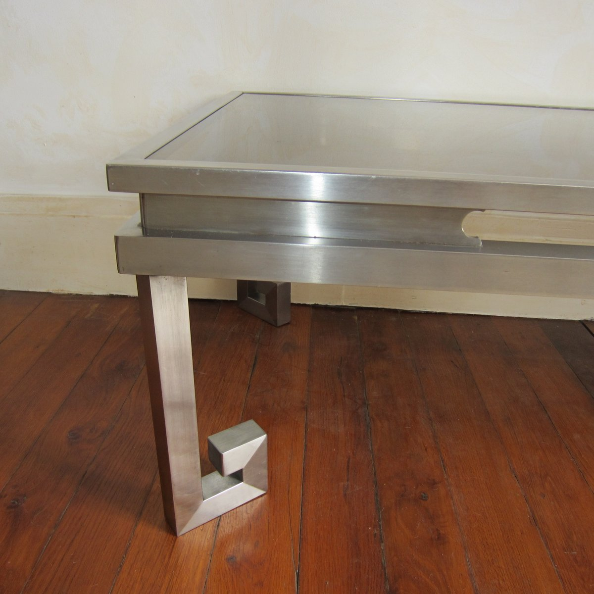 Stainless Steel Coffee Table: Brushed Stainless Steel Coffee Table, 1970s For Sale At Pamono