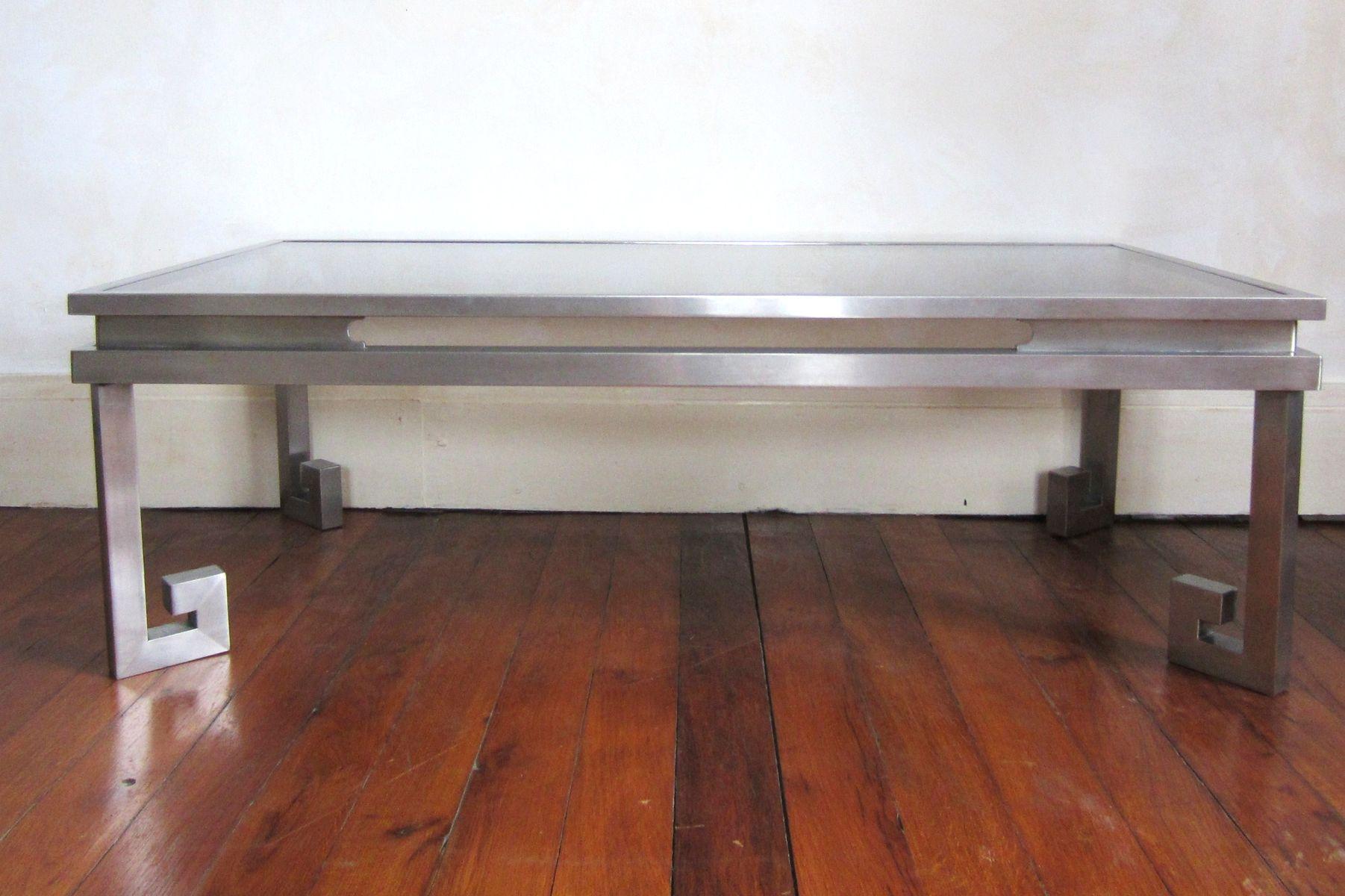 couchtisch aus edelstahl 1970er bei pamono kaufen. Black Bedroom Furniture Sets. Home Design Ideas