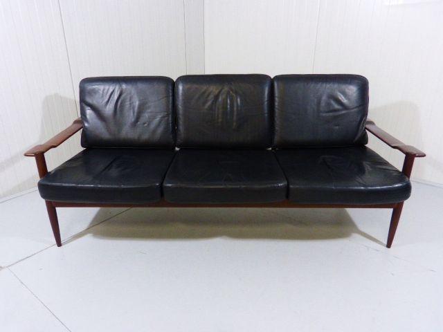 skandinavisches sofa aus palisander und leder bei pamono. Black Bedroom Furniture Sets. Home Design Ideas