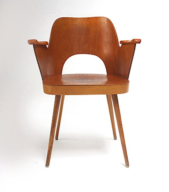 Vintage bent plywood thonet chair - Vintage Dining Chair With Armrest By Oswald Haerdtl For
