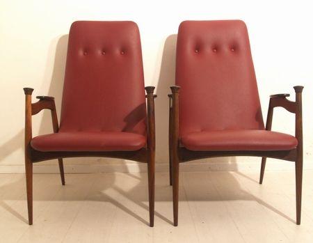 rote palisander sessel 2er set 1950er bei pamono kaufen. Black Bedroom Furniture Sets. Home Design Ideas