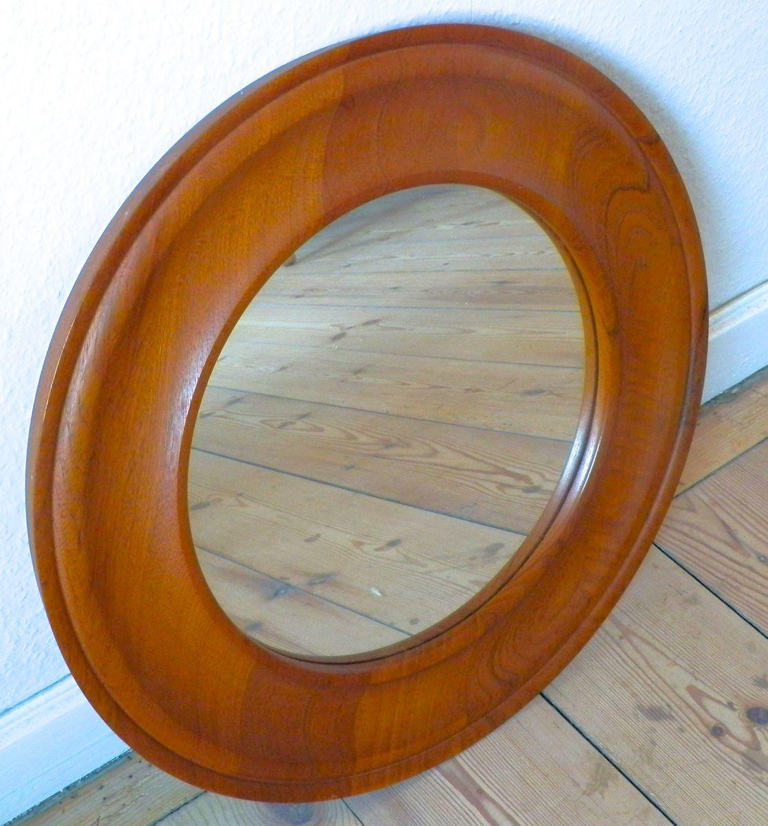 vintage runde teakholz spiegel bei pamono kaufen. Black Bedroom Furniture Sets. Home Design Ideas