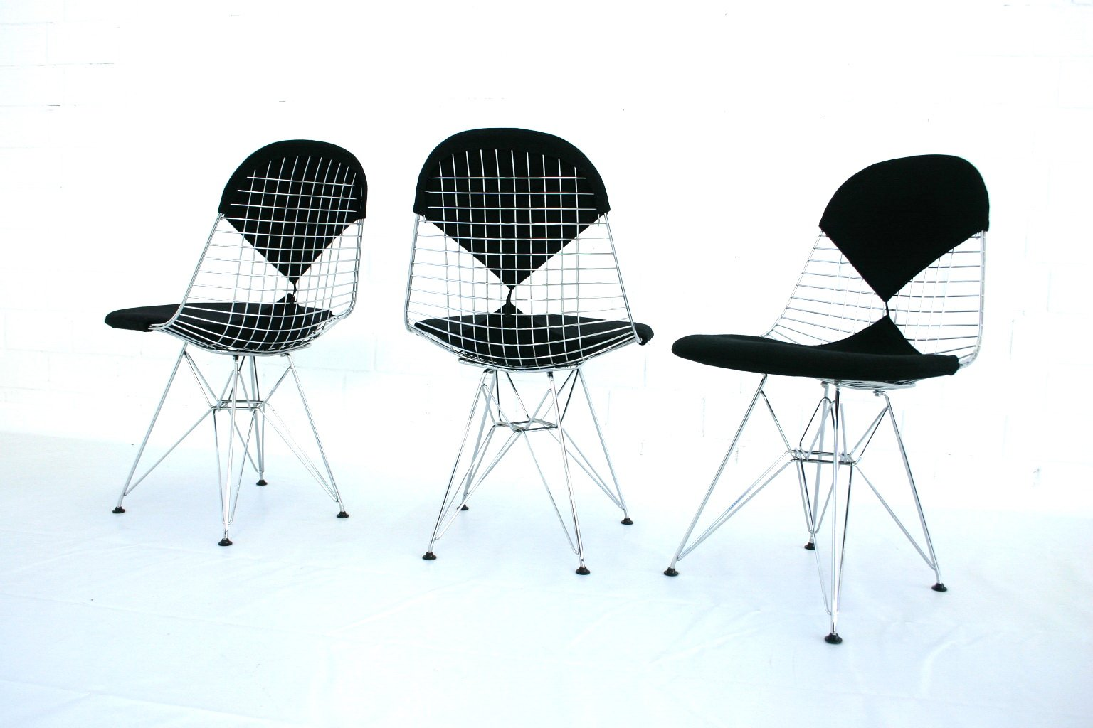 DKR 2 Eiffel Tower Wire Chair By Charles Eames For Vitra Set Of 3 For Sale A