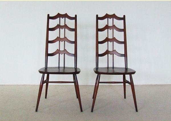 braune st hle aus ulme von l ercolani f r ercol 2er set. Black Bedroom Furniture Sets. Home Design Ideas