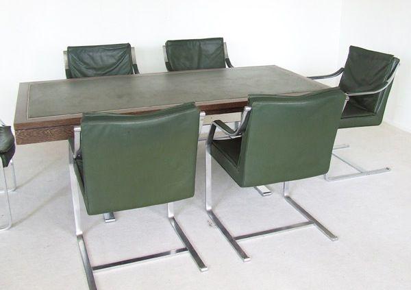 set konferenztisch und sechs st hle von walter knoll bei pamono kaufen. Black Bedroom Furniture Sets. Home Design Ideas