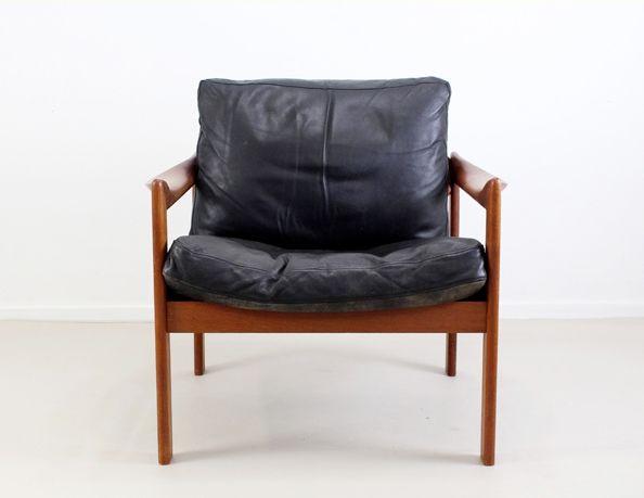 schwarzer leder lounge stuhl von illum wikkels f r niels eilersen 1965 bei pamono kaufen. Black Bedroom Furniture Sets. Home Design Ideas