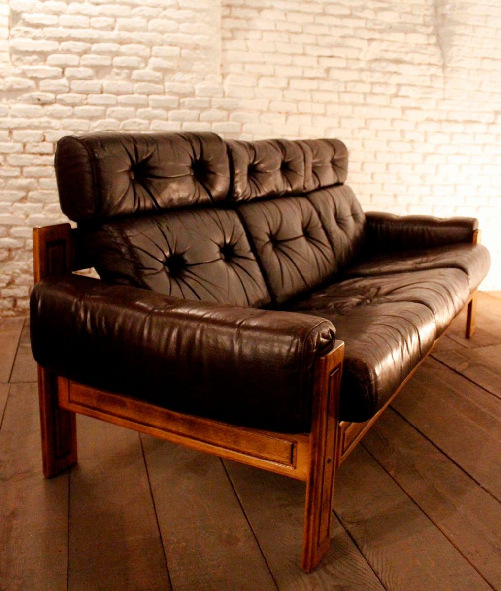 Three Seater Quilted Leather Sofa 1960s For Sale At Pamono