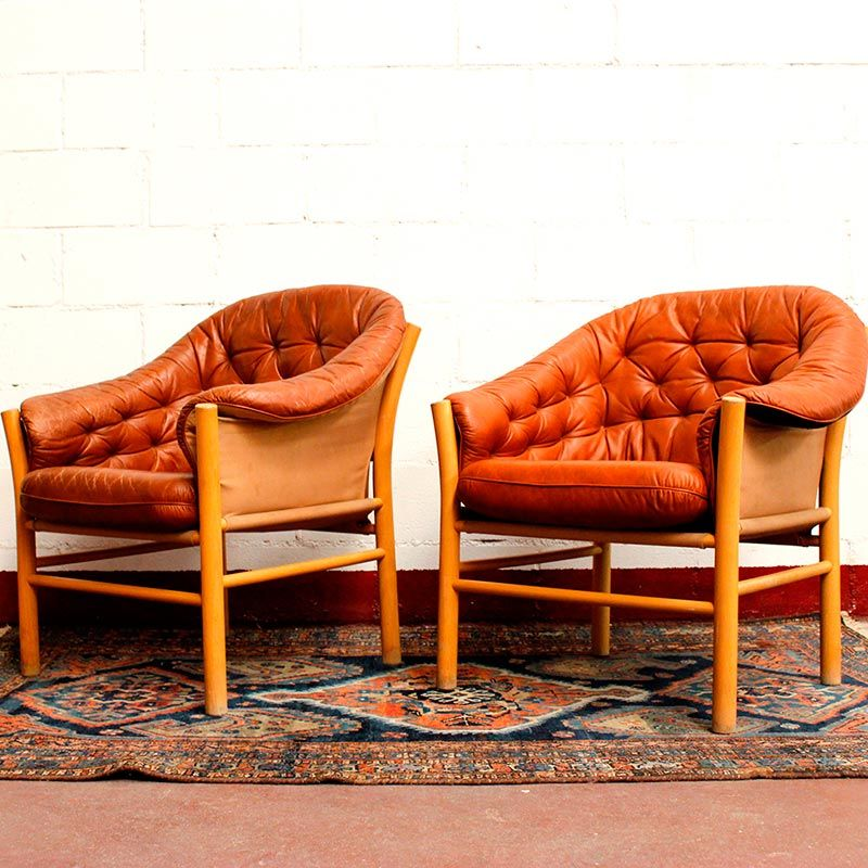 Vintage lounge chairs set of 2 for sale at pamono - Vintage lyon lounge ...