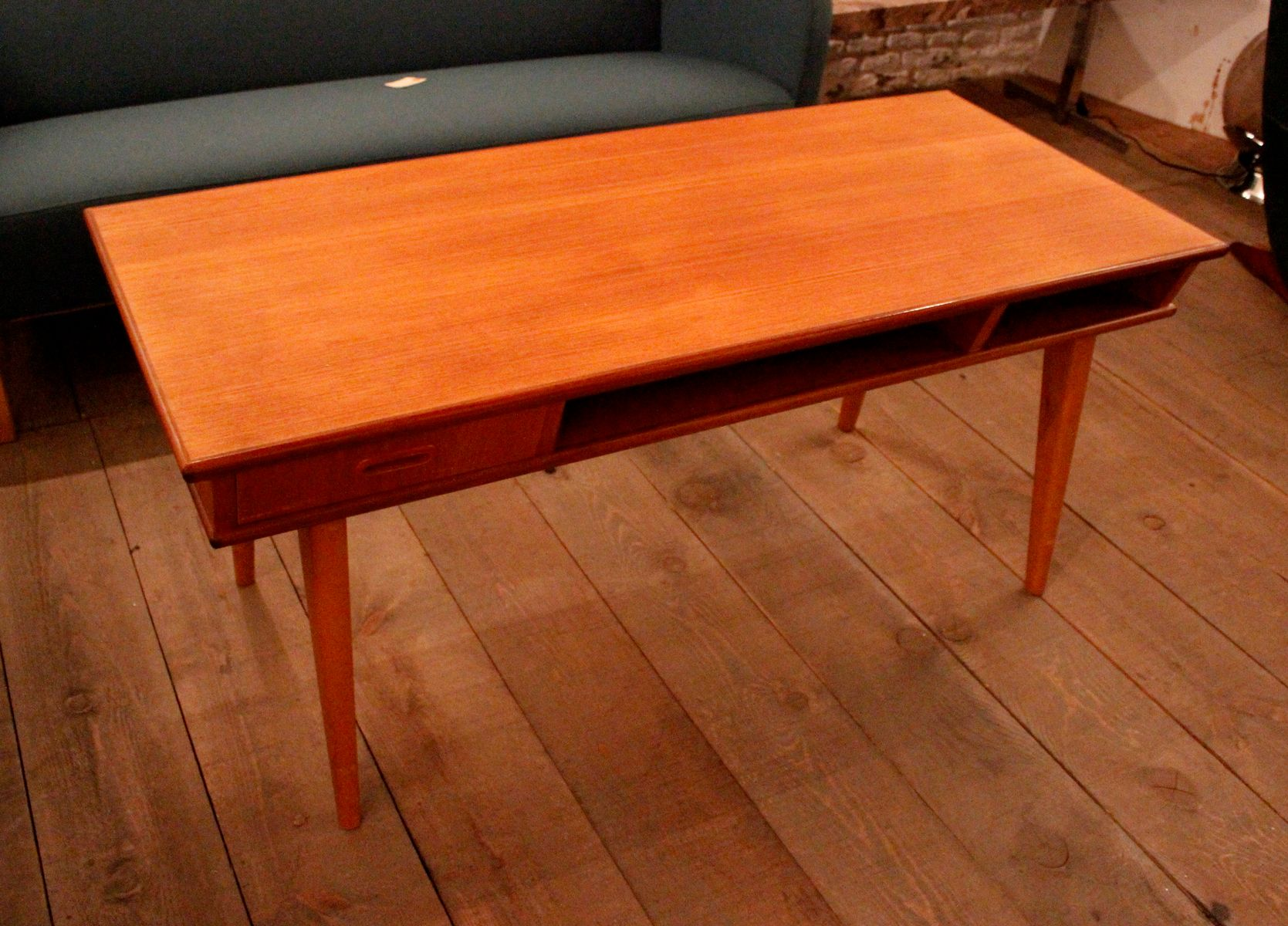 Teak Coffee Table With Double Drawers 1950s For Sale At Pamono
