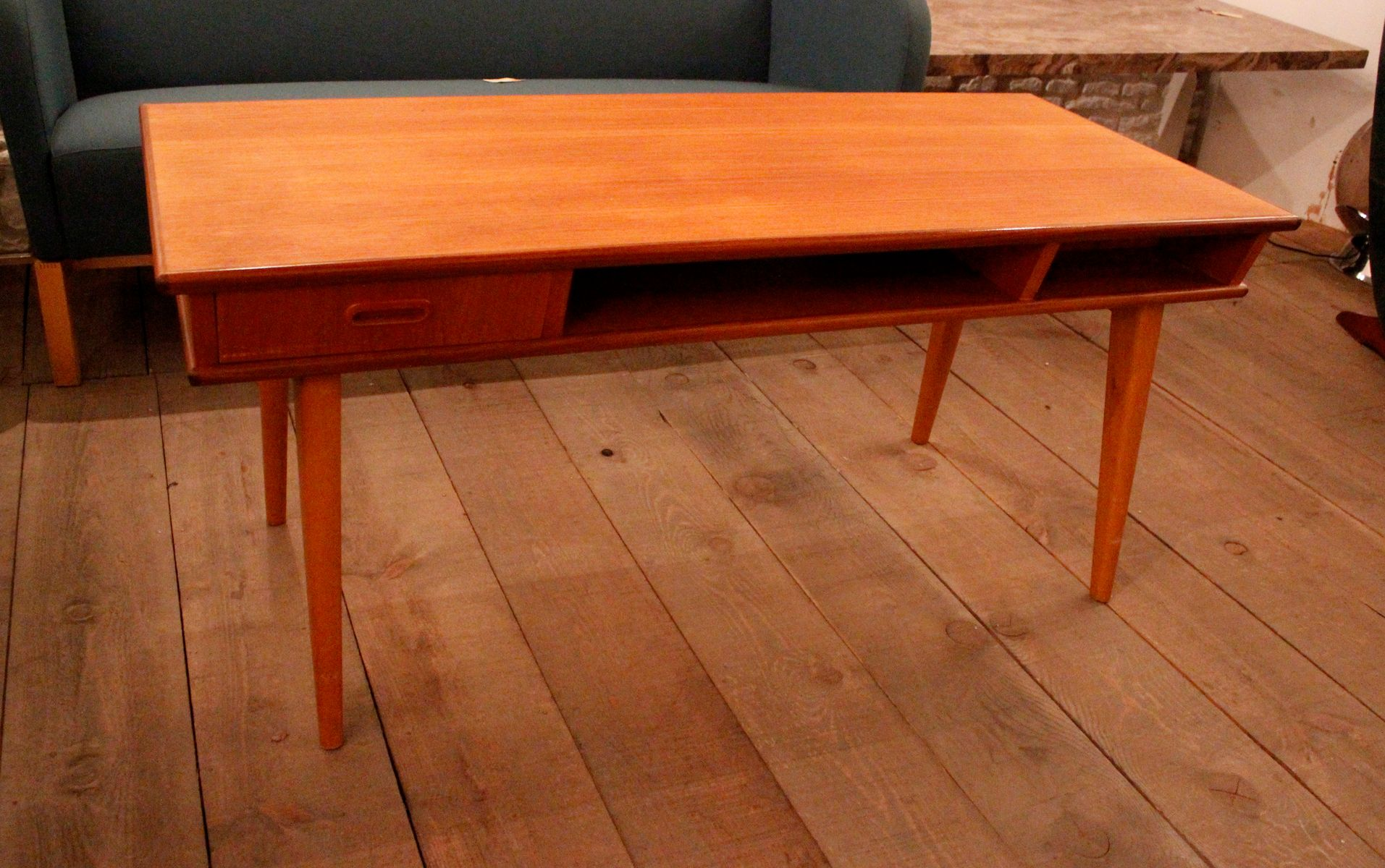 Teak Coffee Table with Double Drawers 1950s for sale at