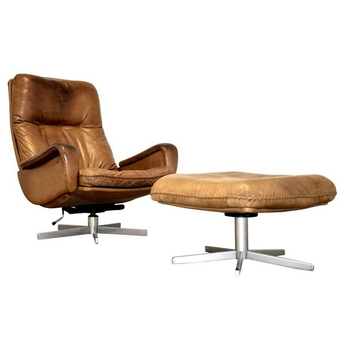 S 231 Swivel Armchair with Ottoman from De Sede 1960s for sale at