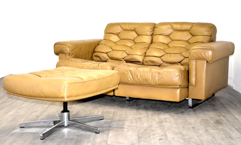 vintage ds p zwei sitzer sofa set aus cognacfarbenem leder von de sede 1970er bei pamono kaufen. Black Bedroom Furniture Sets. Home Design Ideas