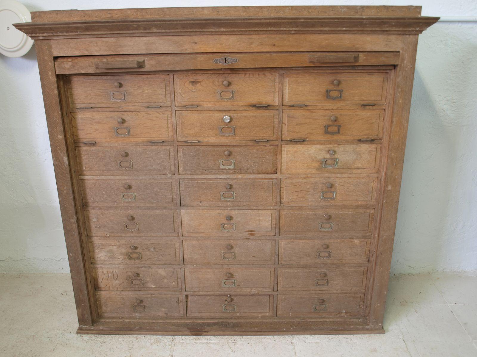 Vintage oak letter cabinet 1940s for sale at pamono for 1940s kitchen cabinets for sale