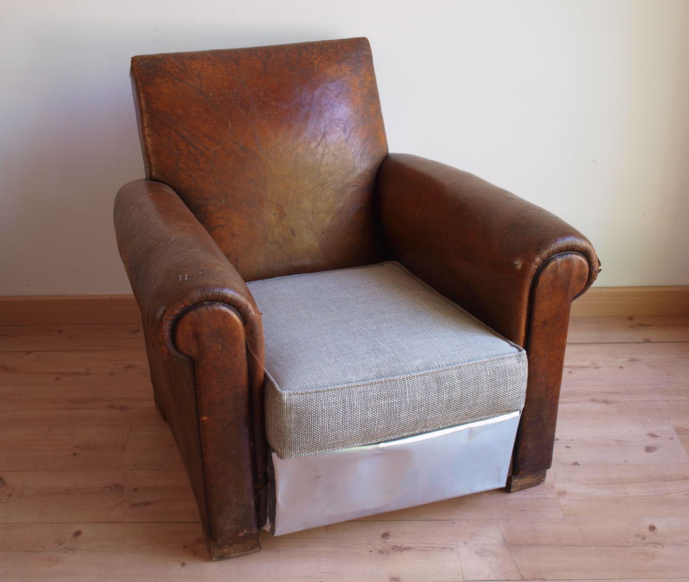 vintage club zink und leder sessel bei pamono kaufen. Black Bedroom Furniture Sets. Home Design Ideas