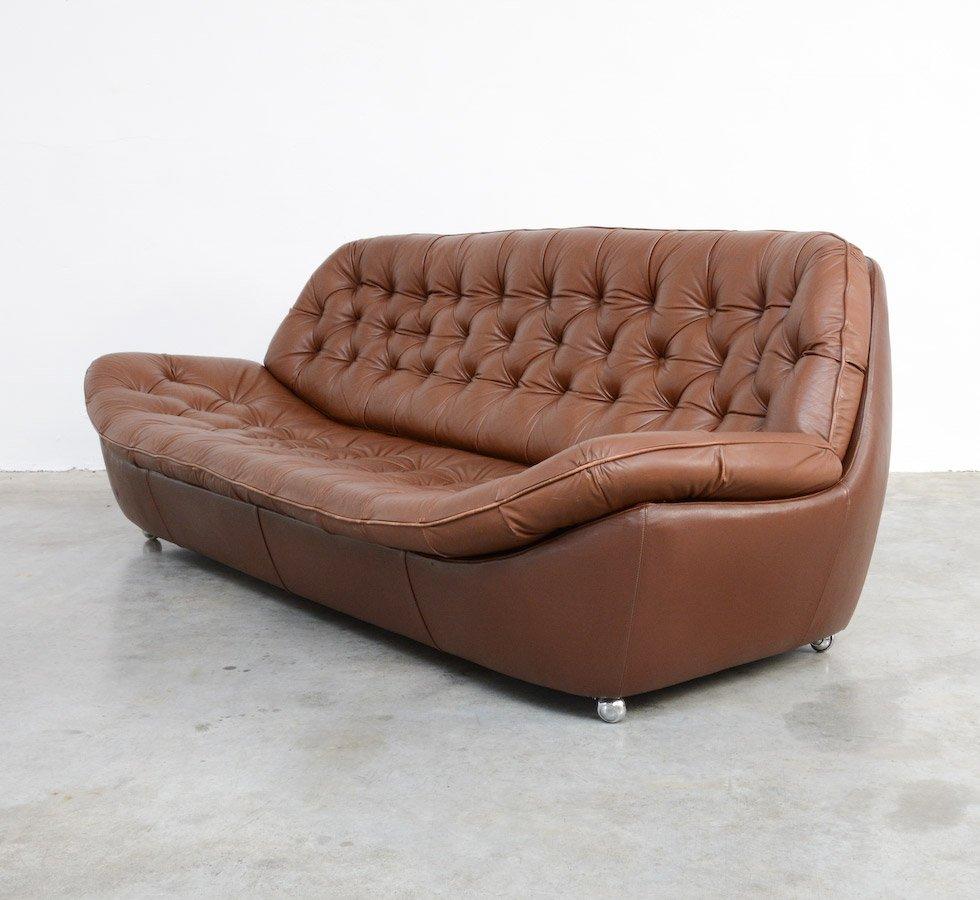 braunes sofa aus leder 1970er bei pamono kaufen. Black Bedroom Furniture Sets. Home Design Ideas