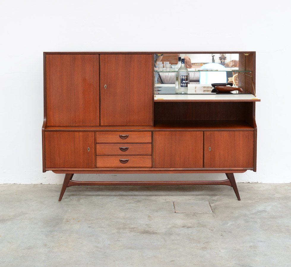 vintage highboard by louis van teeffelen for webe for sale. Black Bedroom Furniture Sets. Home Design Ideas