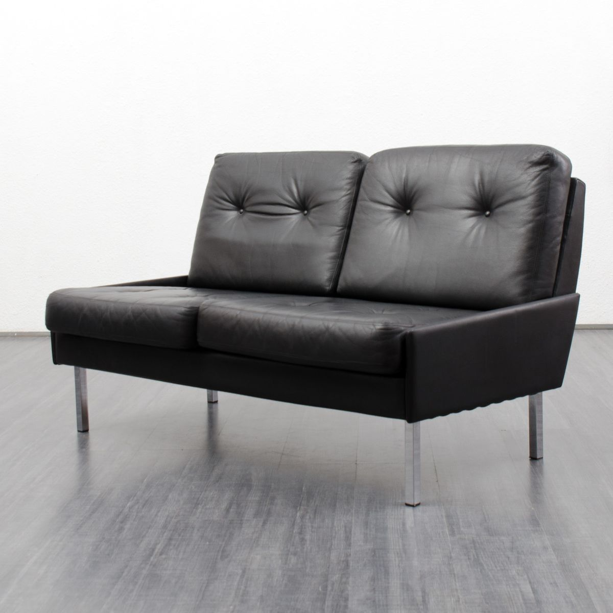 2 seater black leather sofa 1960s for sale at pamono for Leather sofa 7 seater