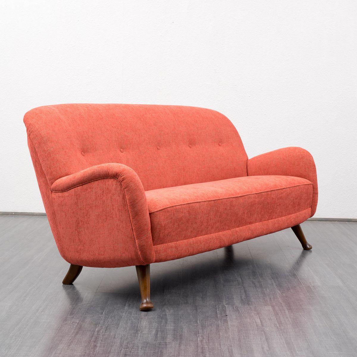 Rotes Mid Century Sofa Deutschland 1950er Bei Pamono Kaufen