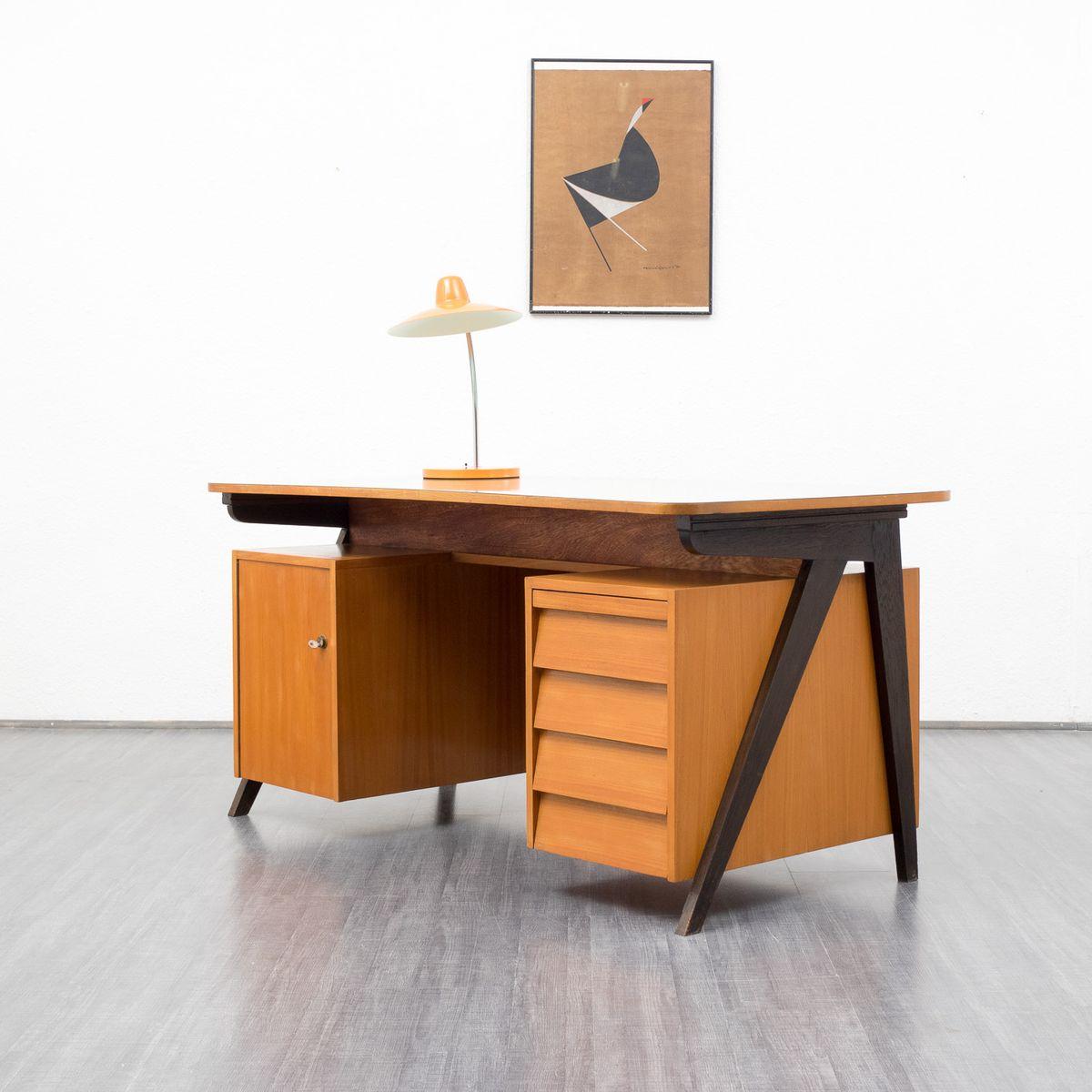 vintage eschenholz schreibtisch 1950er bei pamono kaufen. Black Bedroom Furniture Sets. Home Design Ideas