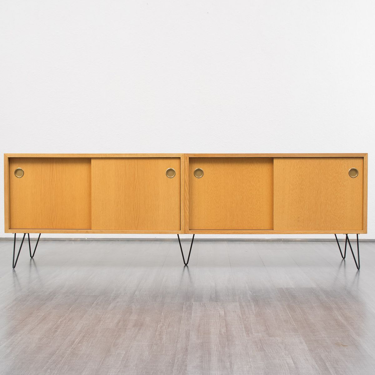 oakwood sideboard with sliding doors 1960s for sale at pamono. Black Bedroom Furniture Sets. Home Design Ideas
