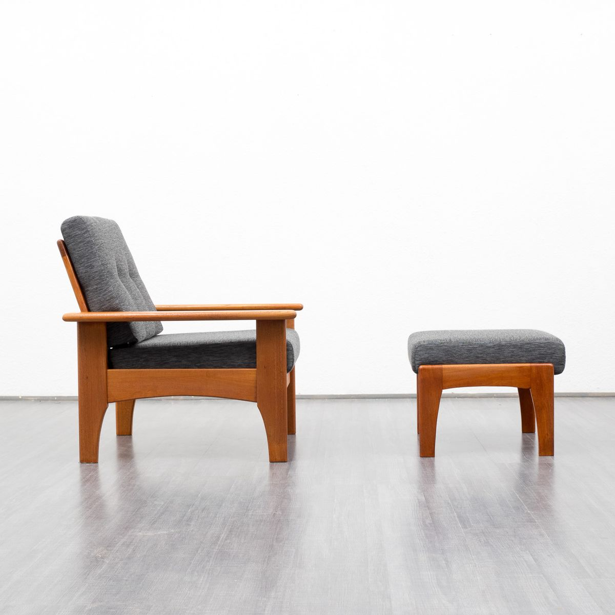 Teak Armchair And Footstool 1960s Set Of 2 For Sale At