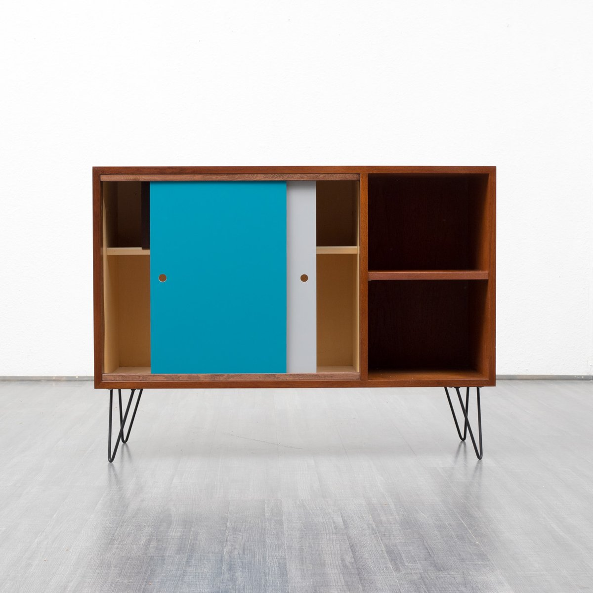 Teak sideboard with colored panels 1960s for sale at pamono for Sideboard petrol