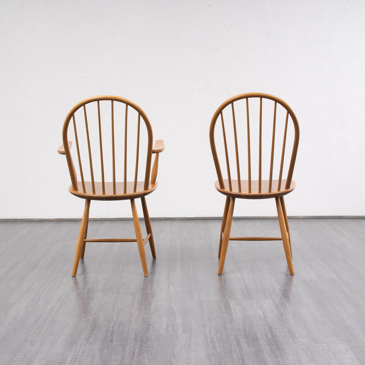 Vintage beech wood dining chairs set of 4 11