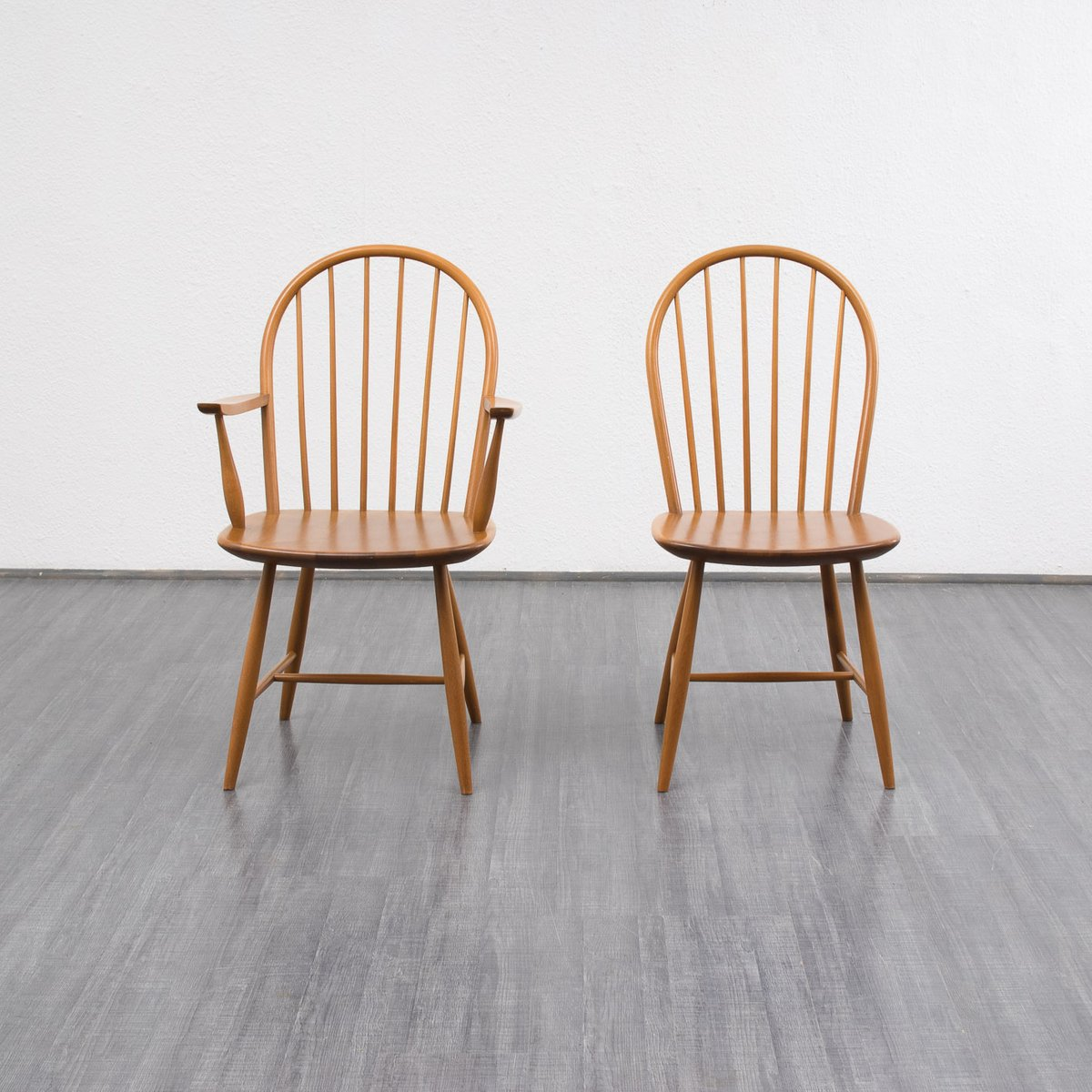 Vintage beech wood dining chairs set of for sale at pamono
