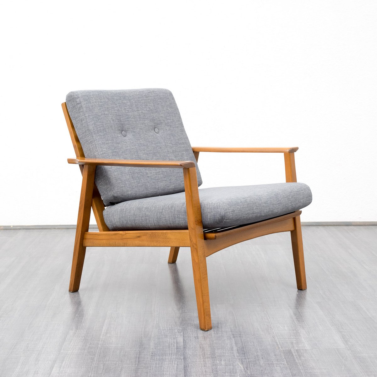 Vintage Beechwood Grey Armchair for sale at Pamono