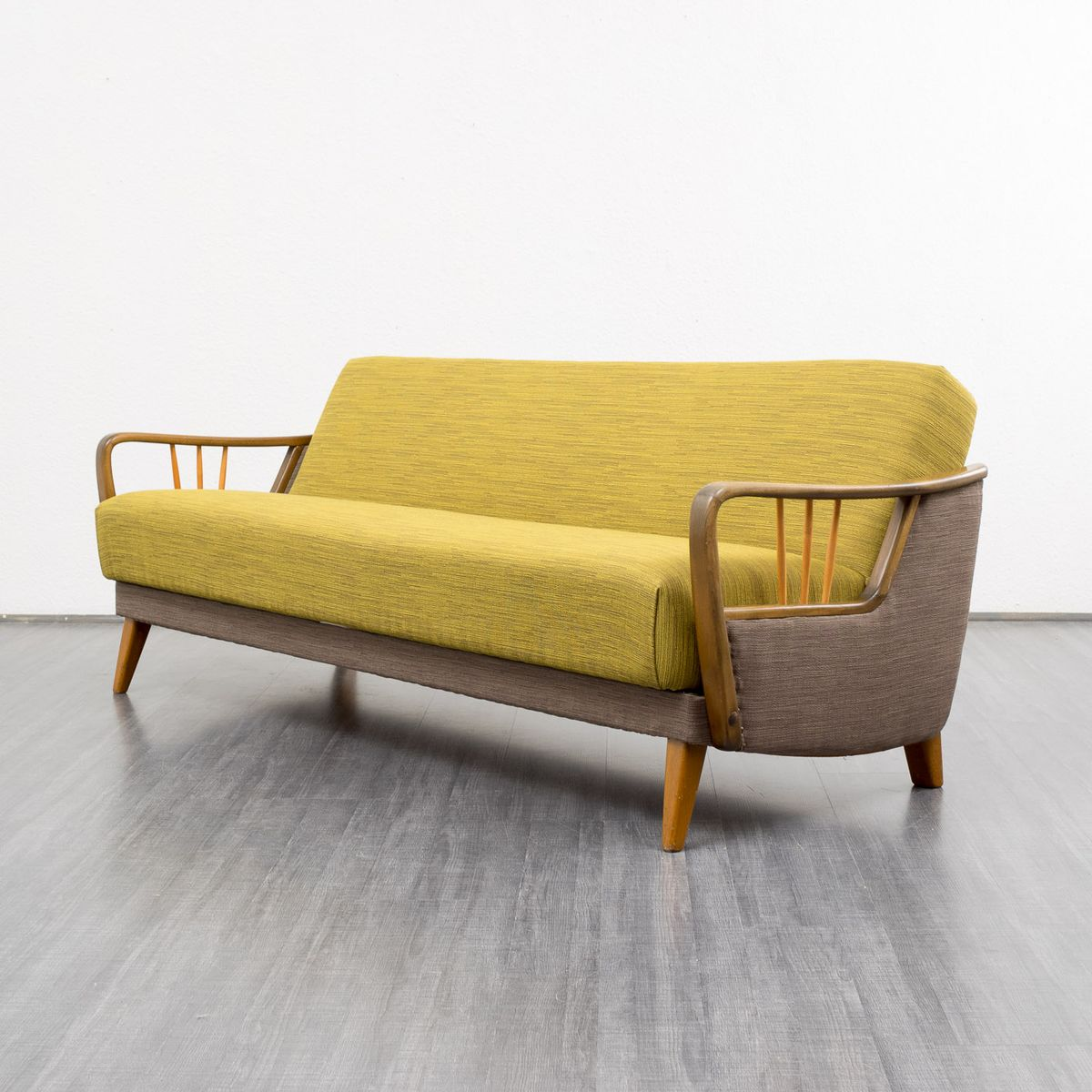 Fabric and beechwood sofa with folding mechanism 1950s for Sofa karlsruhe