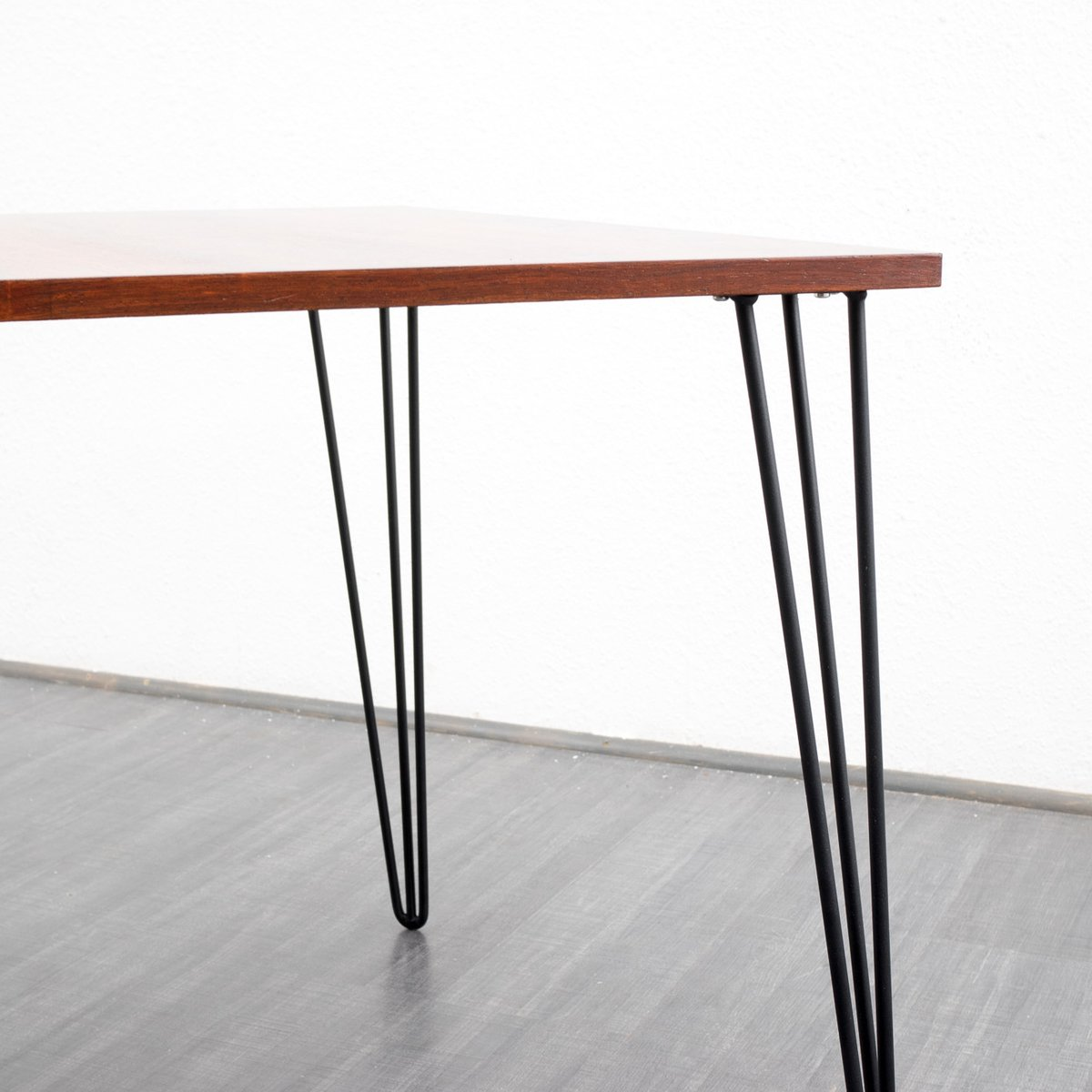 Rosewood dining table with metal hairpin legs 1960s for for Dining table with metal legs