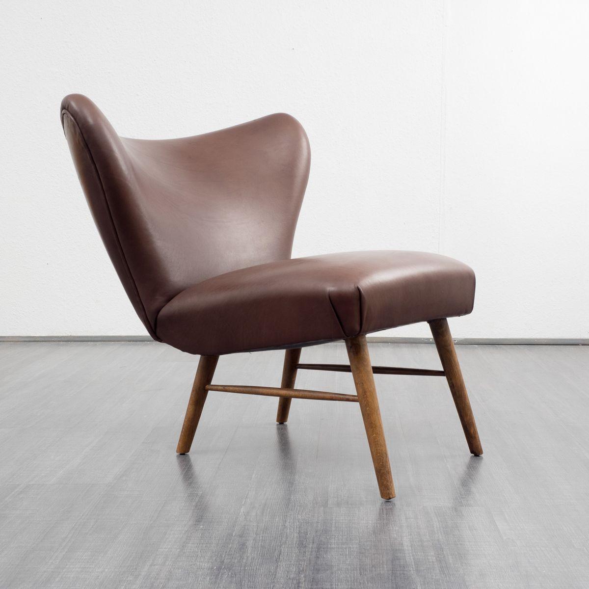 Brauner leder cocktail stuhl bei pamono kaufen for Brauner stuhl