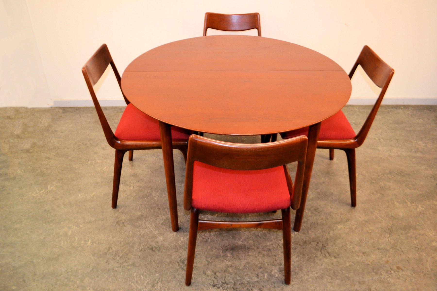 mid century teak lack esszimmergarnitur von erik chistensen f r slagelse mobelveark 1950s bei. Black Bedroom Furniture Sets. Home Design Ideas