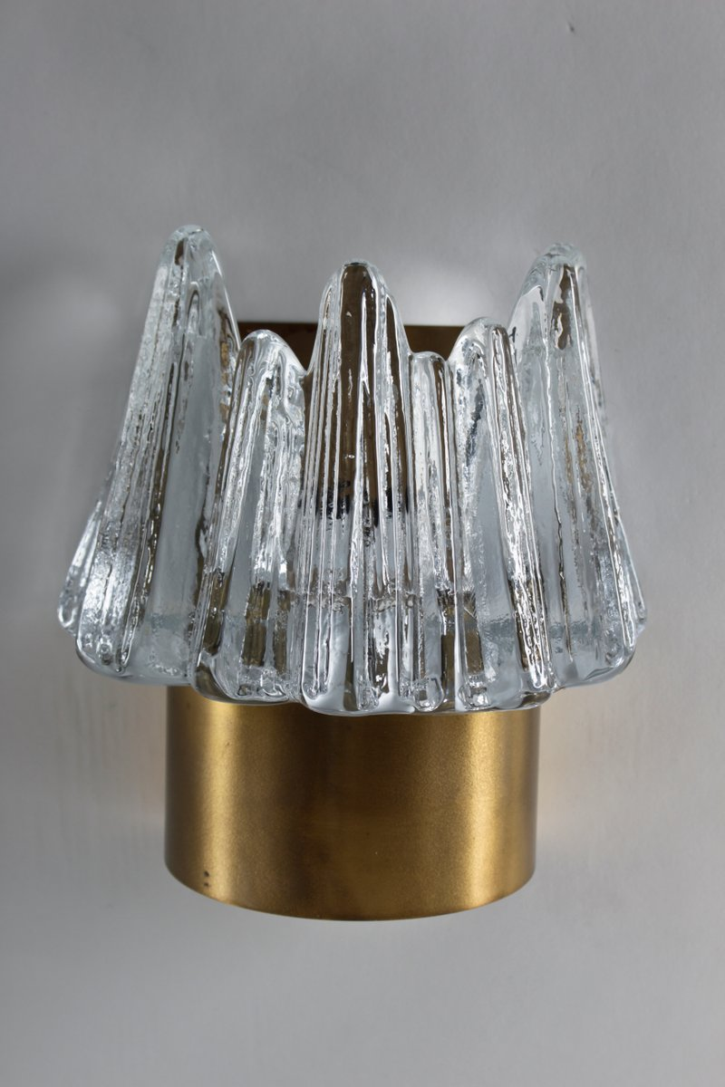 Wall Sconces Set Of 2 : Scandinavian Glass & Brass Wall Sconces, Set of 2 for sale at Pamono