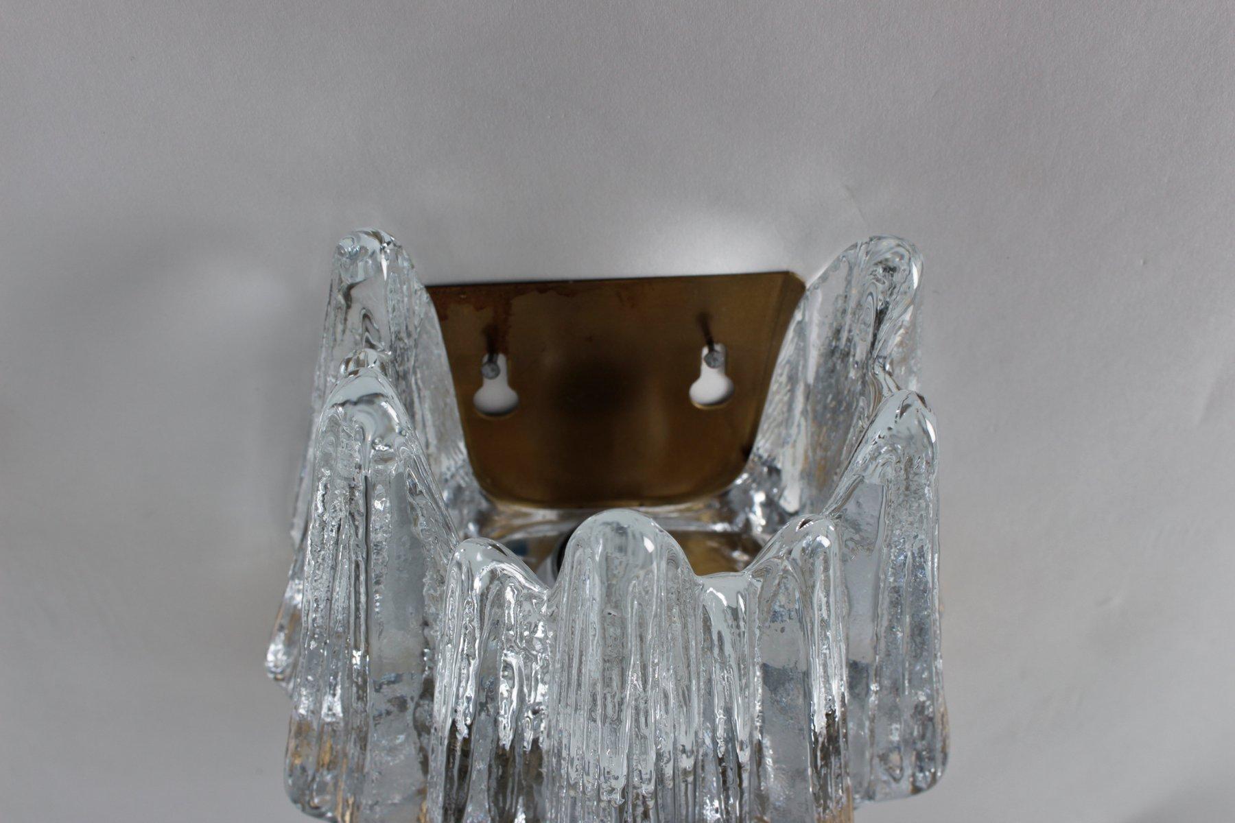 scandinavian glass  brass wall sconces set of  for sale at pamono - scandinavian glass  brass wall sconces set of