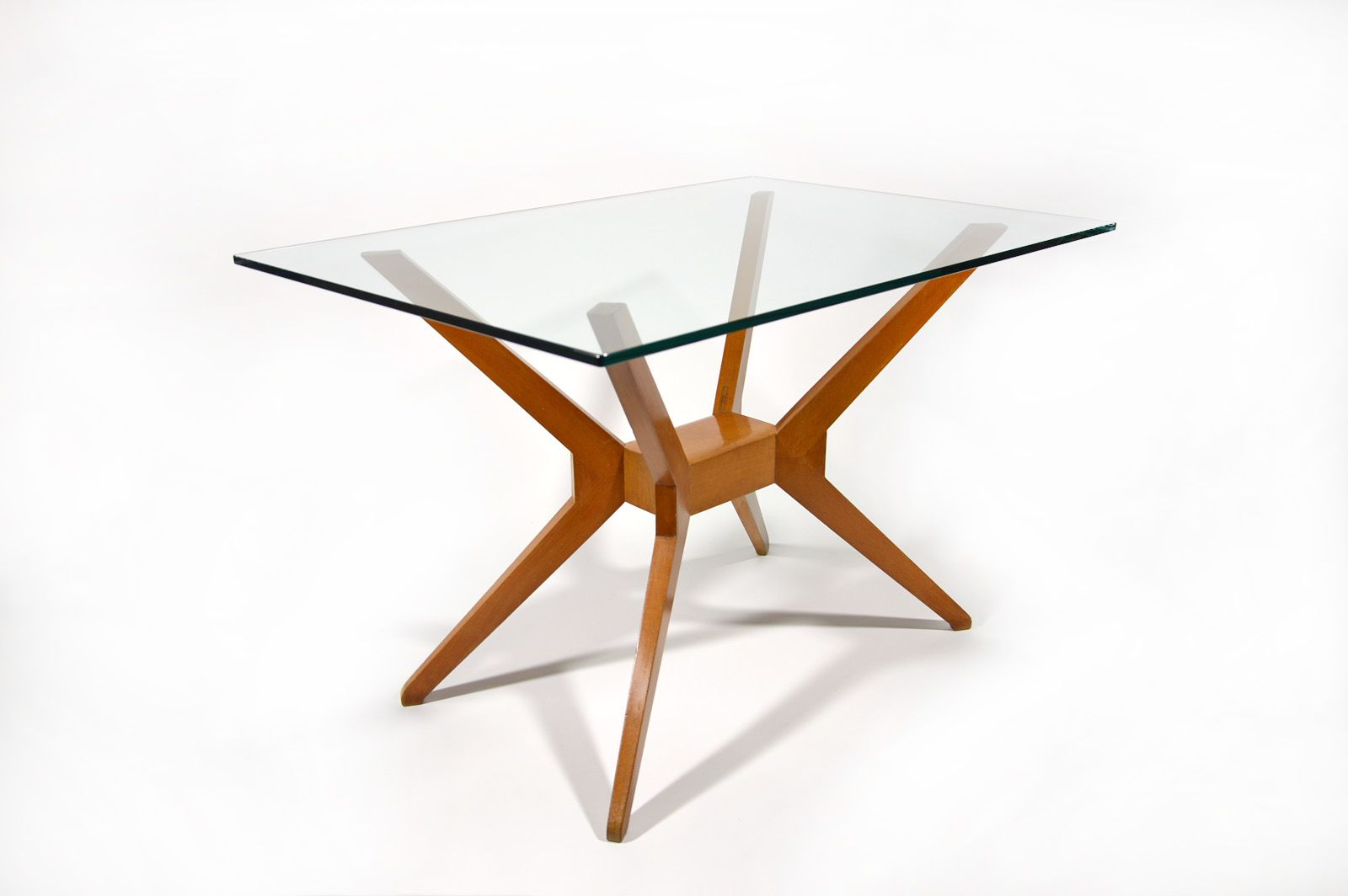 Italian Beech And Glass Coffee Table 1950s For Sale At Pamono
