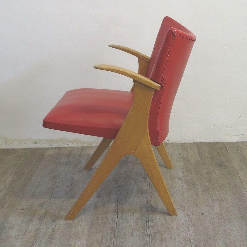 chaise vintage rouge en cuir ska 1950s en vente sur pamono. Black Bedroom Furniture Sets. Home Design Ideas