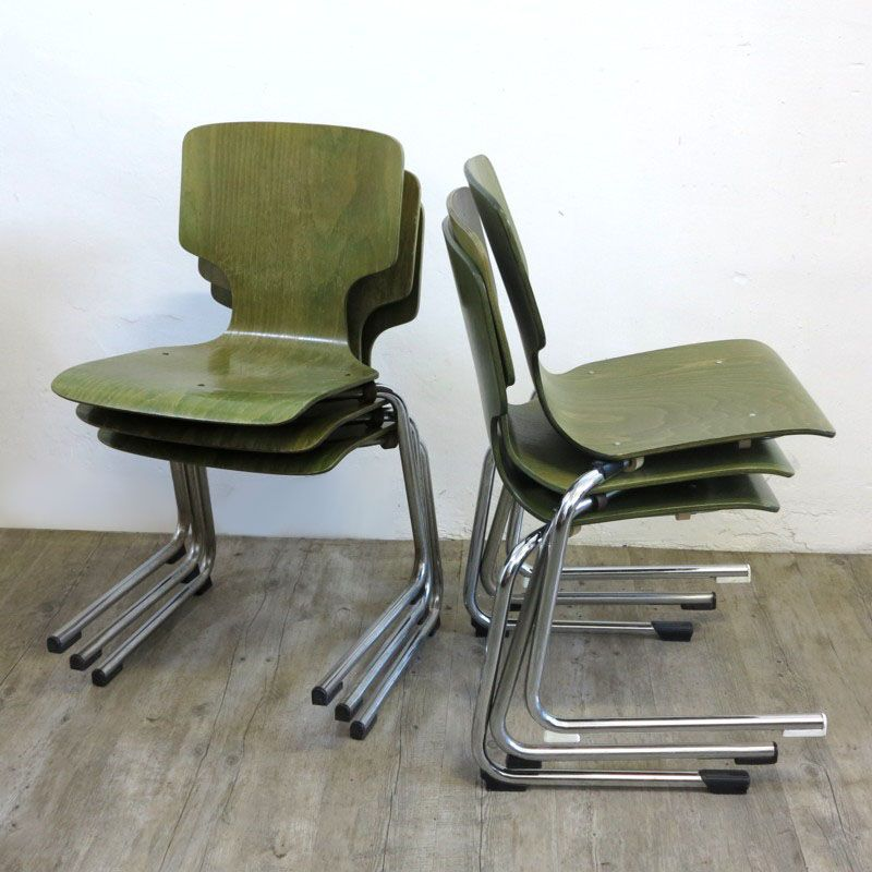 industrial design cantilever chairs set of 6 for sale at