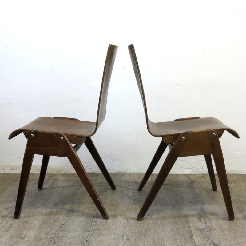 industrial design stacking chairs 1930s set of 2 for