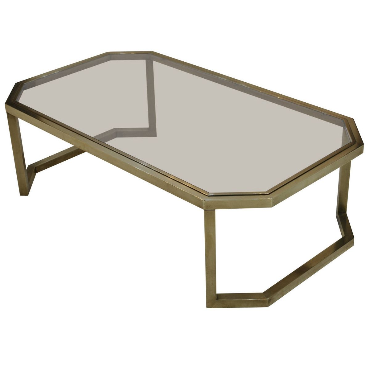 Modernist Brass Coffee Table By Maison Jansen 1970s For Sale At