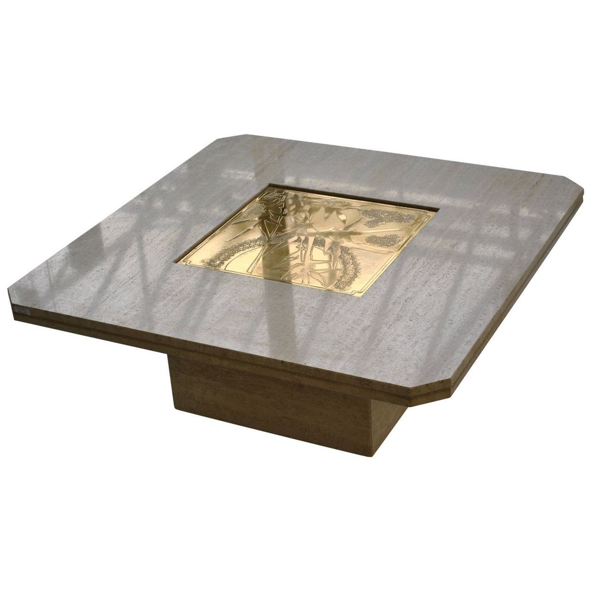Marble and Acid Etched Brass Coffee Table by Georges Mathias