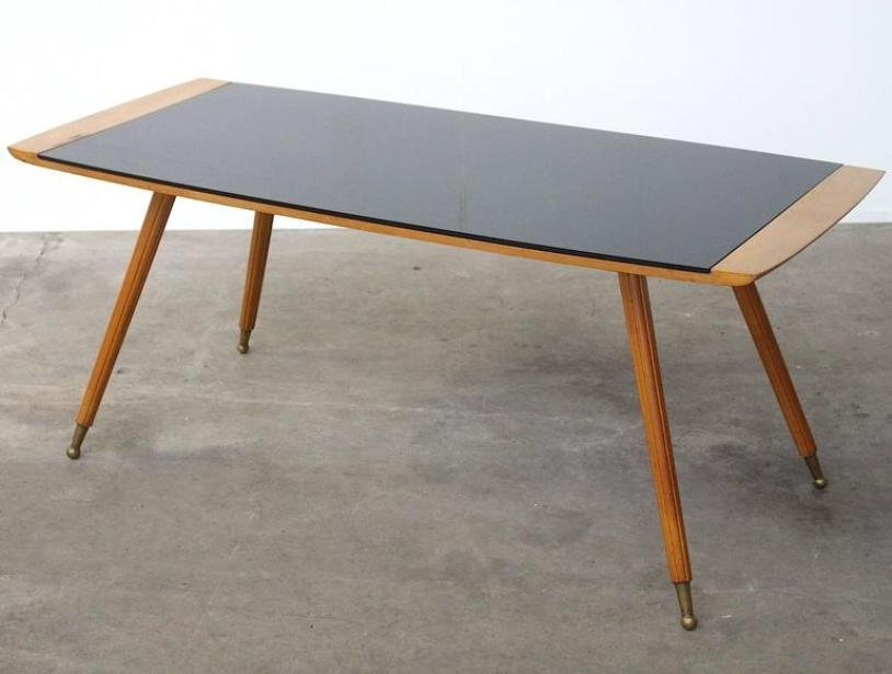 gro er italienischer mid century couchtisch mit schwarzer. Black Bedroom Furniture Sets. Home Design Ideas