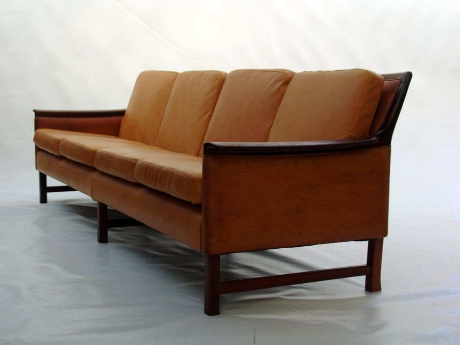 Leather And Rosewood Sofa By Hans Olsen For Sale At Pamono