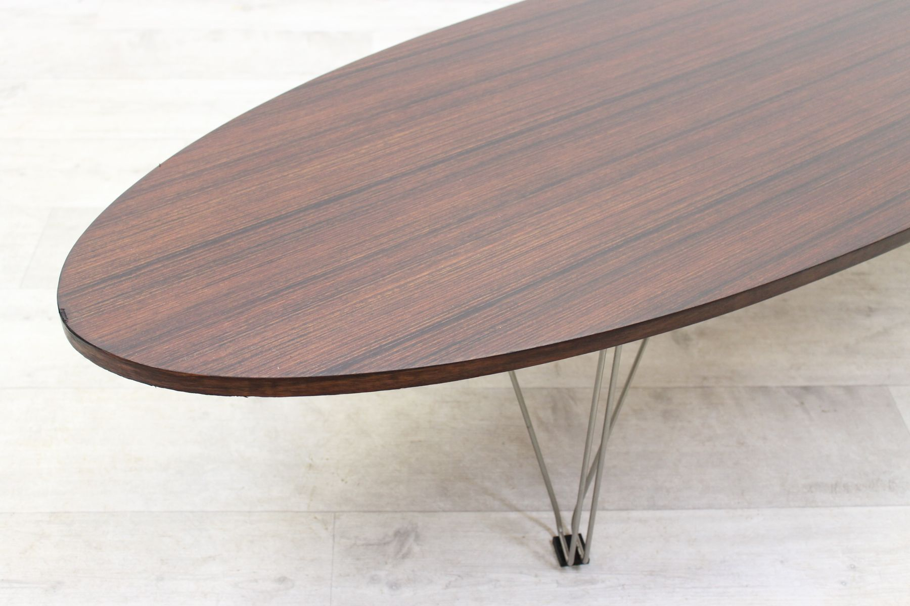 Vintage italian oval design coffee table 1970s for sale for Table design oval