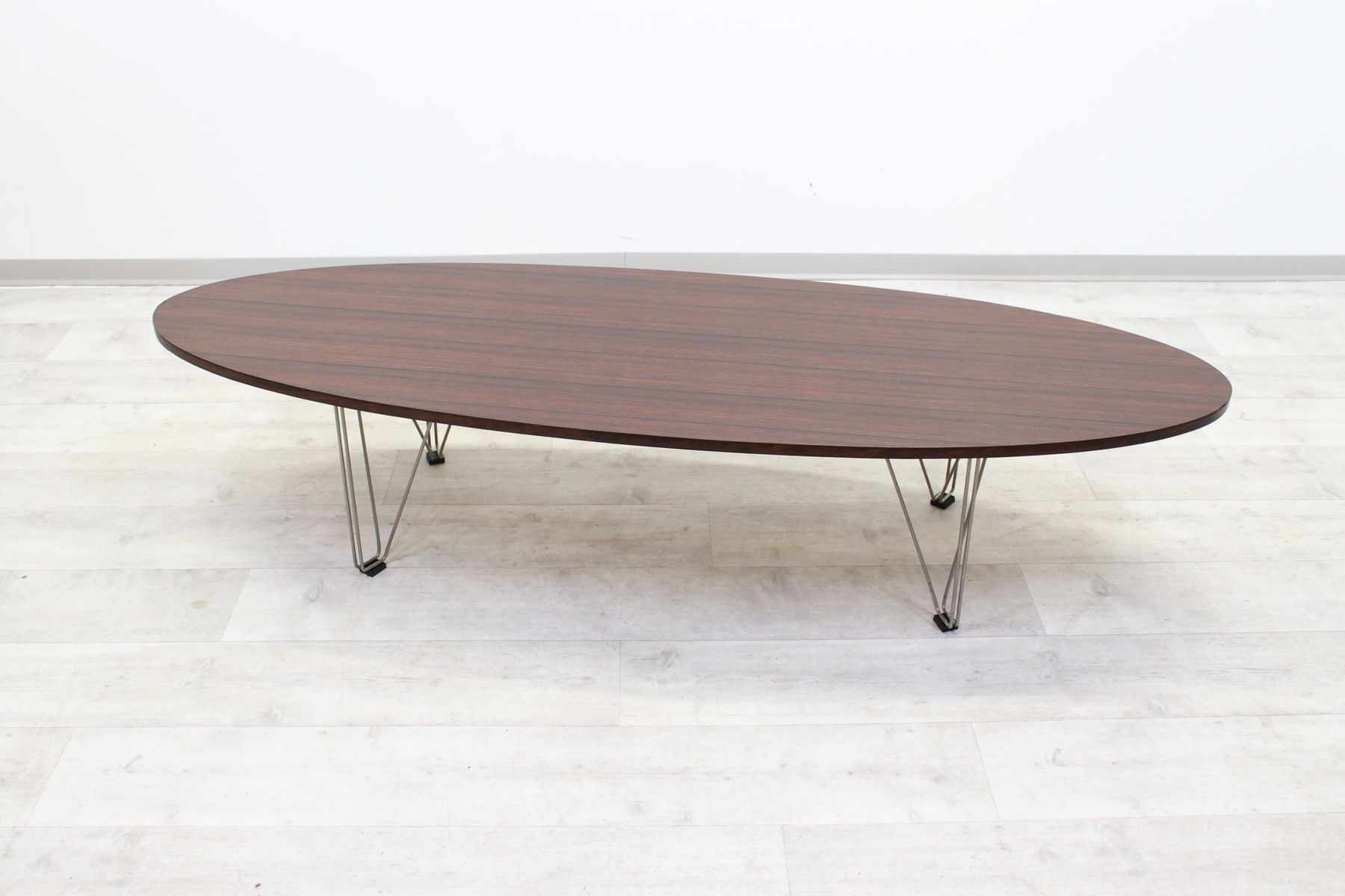 Vintage italian oval design coffee table 1970s for sale for Italian design coffee table