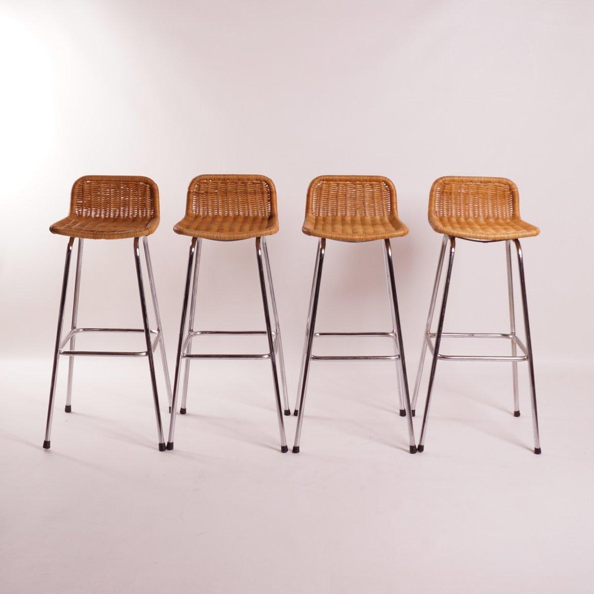 Rattan bar stools by dirk van sliedrecht for roh 1970s Rattan bar stools
