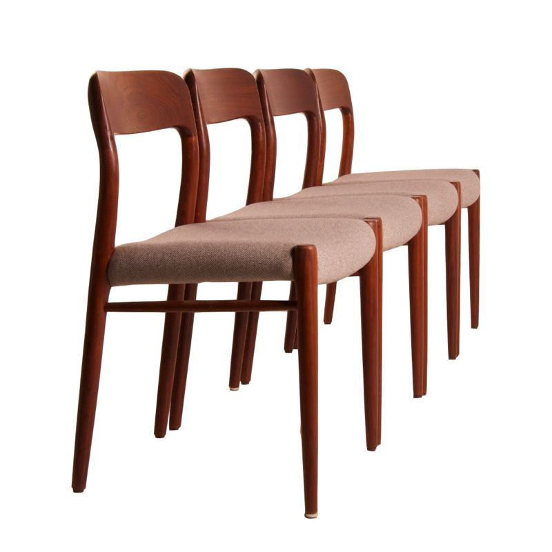 Model No 75 Teak Dining Chairs By Niels Otto Moller For JL M Llers M Belfabr