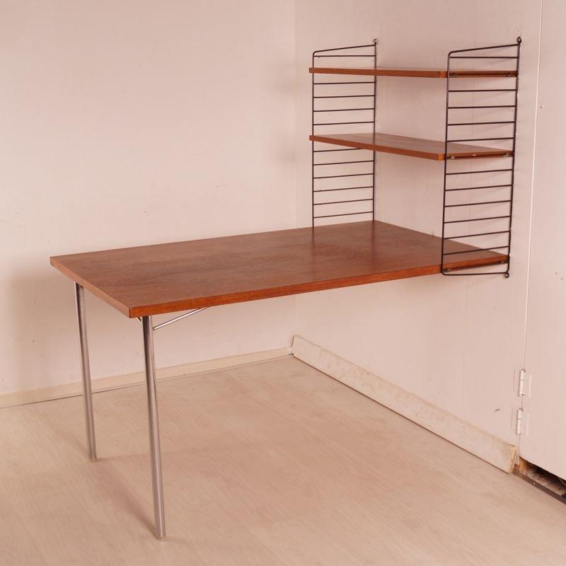 schwedischer schreibtisch mit b cherregal von nisse strinning f r string design ab 1968 bei. Black Bedroom Furniture Sets. Home Design Ideas