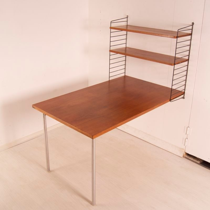 Swedish desk with bookshelf by nisse strinning for string for Swedish design desk